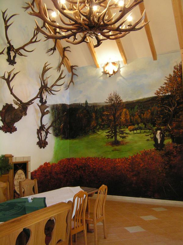 Murals paintings for Trophy room Forest managment shooting area