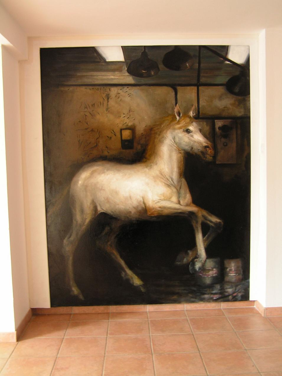 Neurotic horses II, for private interier, oil on canvas, 180 x 220 cm, 2015