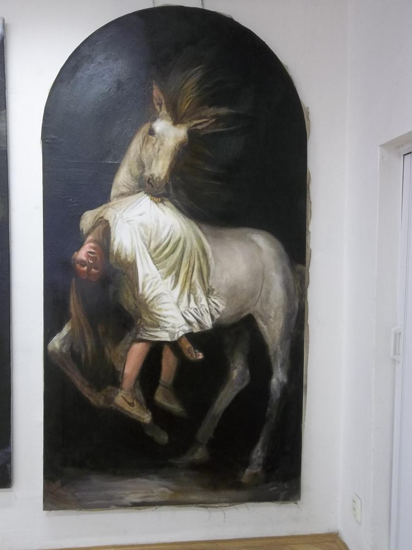 Kidnapping according graphics Francesco Goya oil on canvas , 125 x 250 cm 2015