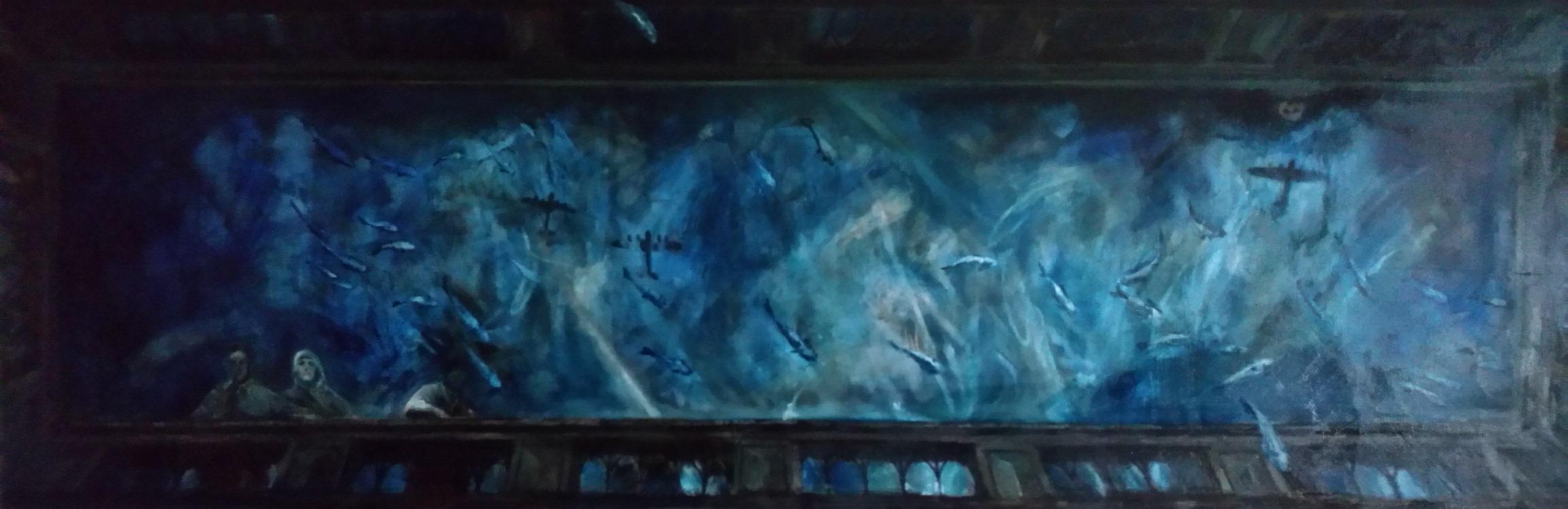 Air Raid - Fishing bomb / Balustrade perspektiv / oil on canvas, 125 - 360 cm, 2017
